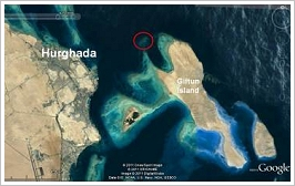 Location of Fanous Reef off Hurghada's coast