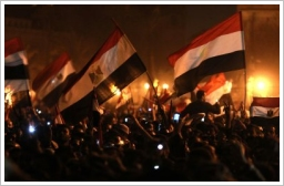 Celebration of the ouster of Hosni Mubarrak at Tahrir Square on 11th Febr, 2011