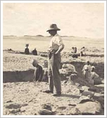 Georg Steindorff during excavation in Aniba, Egypt