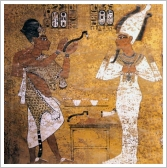 Painting in Tutankhamun's tomb depicting the Opening of the Mouth Ceremony