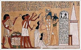 Papyrus Hunefer with depiction of the Opening of the Mouth Ceremony
