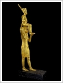 Stolen gilded wood statue of Tutankhamun being carried by goddess Menkaret