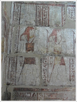Qasr El Aguz: Wall paintings in the offering hall after restoration, Luxor West Bank