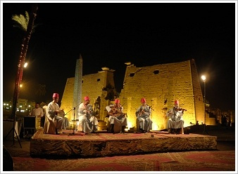 "Conference ""Thebes in the First Millenium BC"" - Musicians in front of the magnificent  backdrop of Luxor Temple"