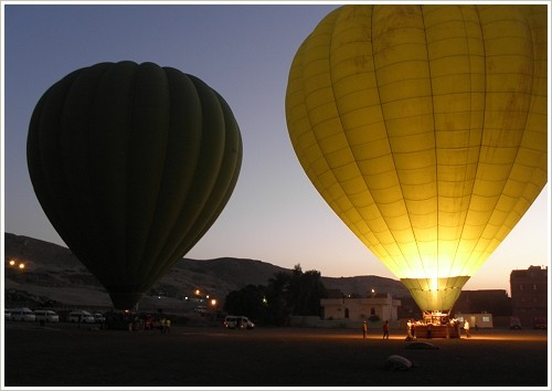 Balloons just ahead of start at the balloon aitport on the western bank of Luxor