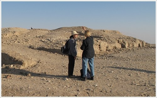 Dr. Diana Craig Patch and Dr. Catharine H. Roehrig in Malqata, Luxor West Bank, (c) iMalqata