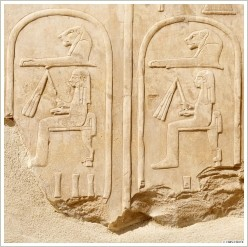 Hatschepsut cartouches in the Netery-menu at the Open Air Museum Karnak, (c) CNRS/CFEETK