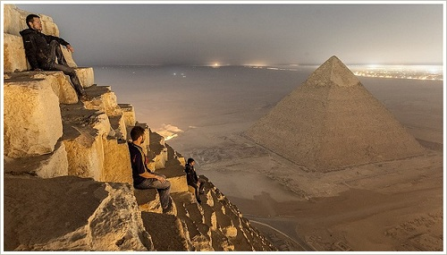 View from the Pyramid of Menkaure onto the Pyramid of Khafre, Giza Plateau, (c) Vitaly Raskalov