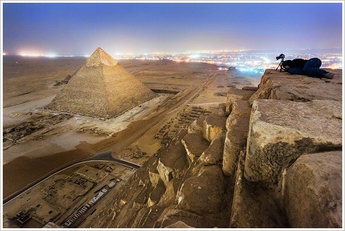 View from the Pyramid of Menkaure onto the Pyramid of Khafre, Giza Plateau, (c) Vadim Machorov