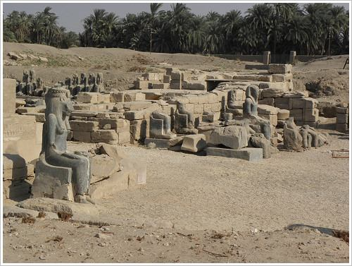 Statues in the Temple of Mut in Karnak